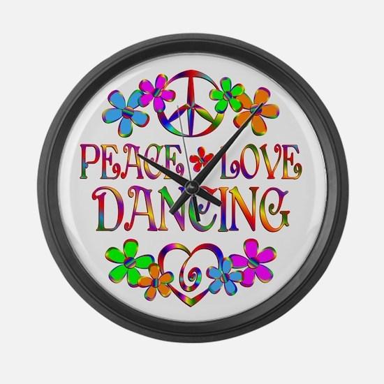Peace Love Dancing Large Wall Clock