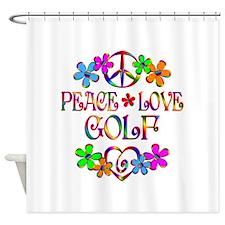 Peace Love Golf Shower Curtain