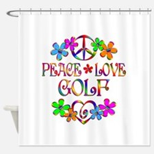 Peace Love Golf Shower Curtain