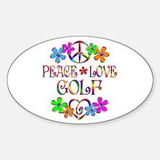 Peace Love Golf Sticker (Oval)