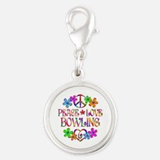 Peace Love Bowling Silver Round Charm