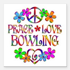 "Peace Love Bowling Square Car Magnet 3"" x 3"""