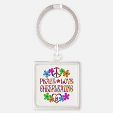 Peace Love Cheerleading Square Keychain
