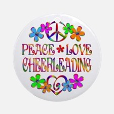 Peace Love Cheerleading Round Ornament
