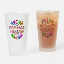 Peace Love Cheerleading Drinking Glass