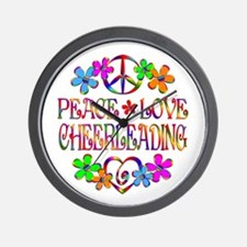 Peace Love Cheerleading Wall Clock