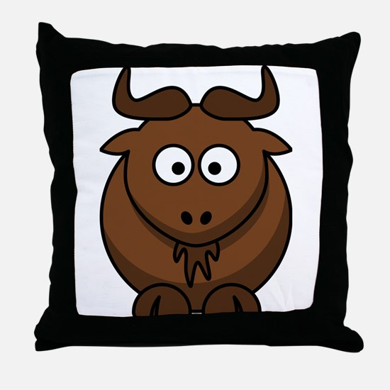 Cartoon Gnu Throw Pillow
