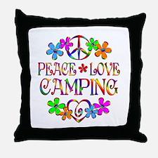 Peace Love Camping Throw Pillow