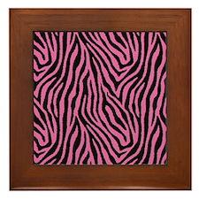 Pink Zebra Framed Tile