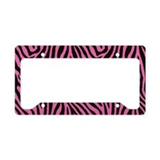 Pink Zebra License Plate Holder