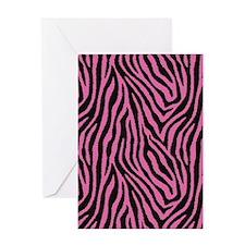 Pink Zebra Greeting Cards