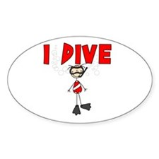 I Dive Oval Decal