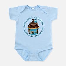 4th Birthday Cupcake and Owl Infant Bodysuit