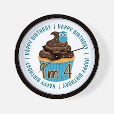 4th Birthday Cupcake and Owl Wall Clock
