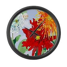 Dazzlin' Dahlias Large Wall Clock