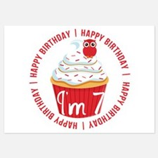 7th Birthday Cupcake Owl Invitations