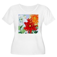 Dazzlin' Dahlias Plus Size T-Shirt