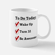 32nd Birthday Checklist Mugs