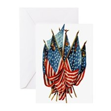 Vintage American Flags Greeting Cards