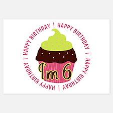 6th Girl Birthday Cupcake Invitations