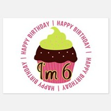 6th Girl Birthday Cupcake Invitations