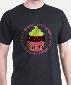 6th Girl Birthday Cupcake T-Shirt