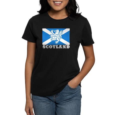 Flag of Scotland with Lion Women's Dark T-Shirt