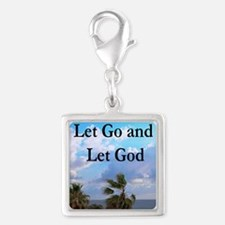 LET GO AND LET GOD Silver Square Charm