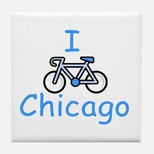 I Bike Chicago Tile Coaster