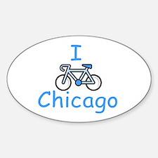I Bike Chicago Oval Decal