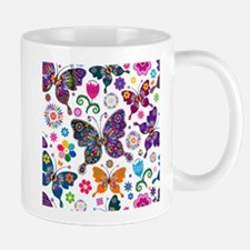 Colorful Flowers And Butterflies Pattern Mugs