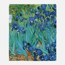Van Gogh Garden Irises Throw Blanket
