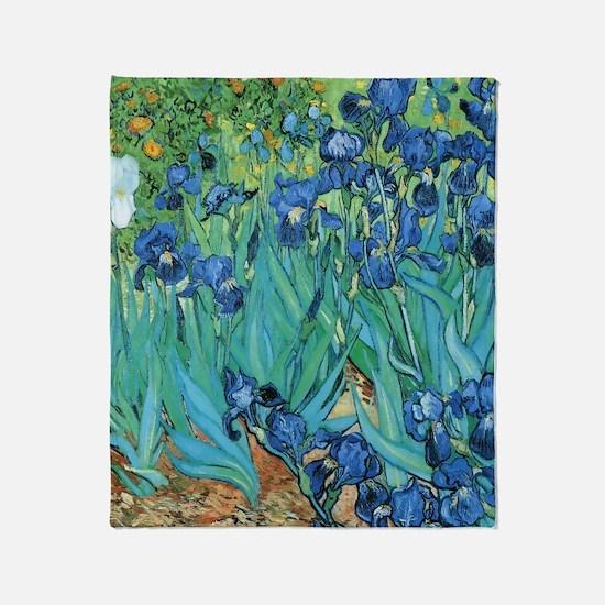 Van Gogh Garden Irises Throw Blanket