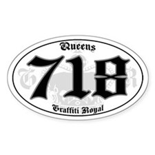 """""""QUEENS 718 OLD SKOOL"""" Oval Decal"""