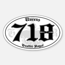 """QUEENS 718 OLD SKOOL"" Oval Decal"