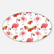 Strawberry Flamingos - Sticker (Oval)