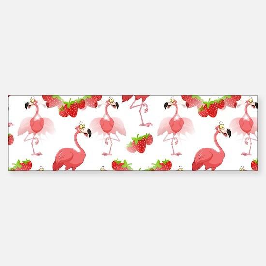 Strawberry Flamingos - (bumper) Bumper Bumper Bumper Sticker