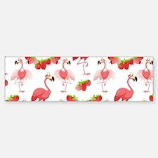Strawberry Flamingos - (bumper) Bumper Car Car Sticker