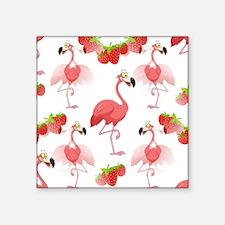 """Strawberry Flamingos - Square Sticker 3"""" X 3&"""