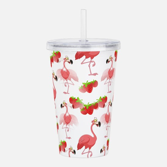Strawberry Flamingos - Acrylic Double-Wall Tumbler