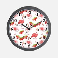 Strawberry Flamingos - Wall Clock