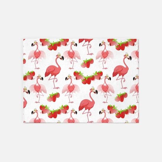 Strawberry Flamingos - 5'x7'Area Rug