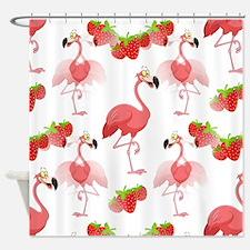 Strawberry Flamingos - Shower Curtain
