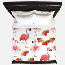 Strawberry Flamingos - King Duvet