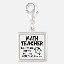 MATH TEACHER Silver Square Charm