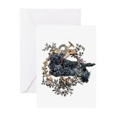 Scottish Terrier Wreath Greeting Card