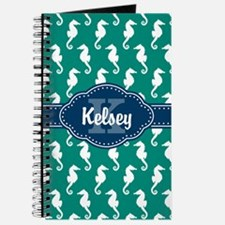 Personalized Blue Monogram Teal Seahorse Journal