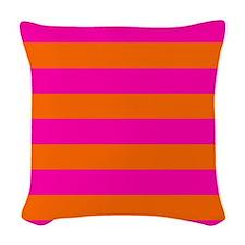 Orange + hot pink stripes Woven Throw Pillow