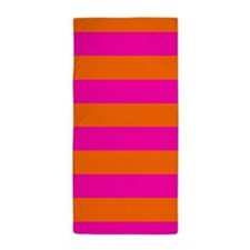Pink + Orange stripes Beach Towel