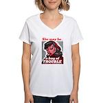 No Bad Evil Women (Front) Women's V-Neck T-Shirt